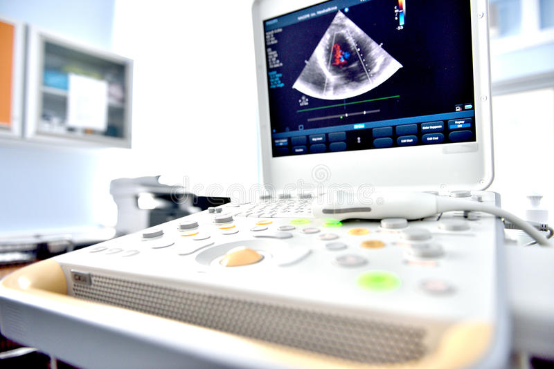 Ultrasound machine. With the image of heart cavities stock photo