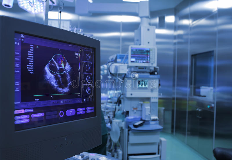 Ultrasound monitoring of the heart during surgery. In operating room royalty free stock photos