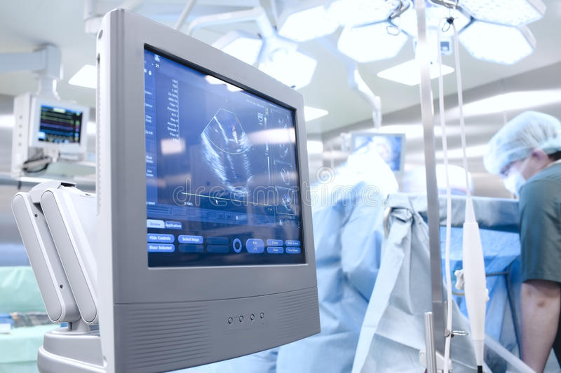 Ultrasound in Operating Room. Ultrasound examination in the Operating Room royalty free stock photo