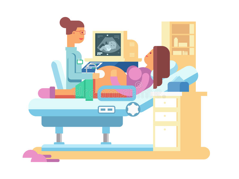 Ultrasound of a pregnant woman. Scan and hospital, belly healthy, flat vector illustration royalty free illustration