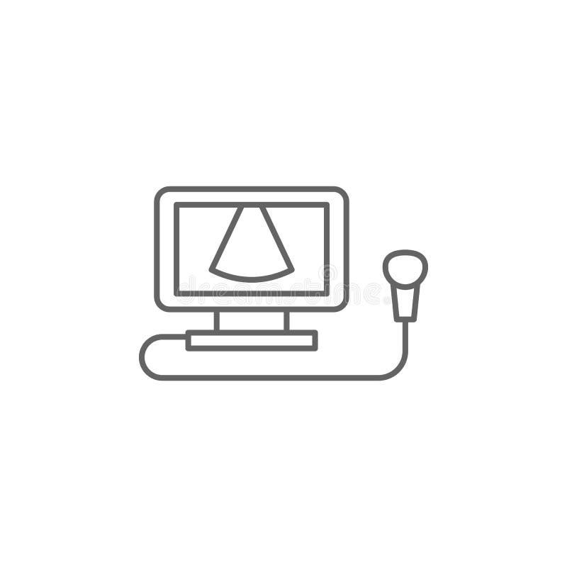 Ultrasound procedure, geneesmiddelpictogram Pictogram van het geneesmiddel Thin line pictogram vector illustratie