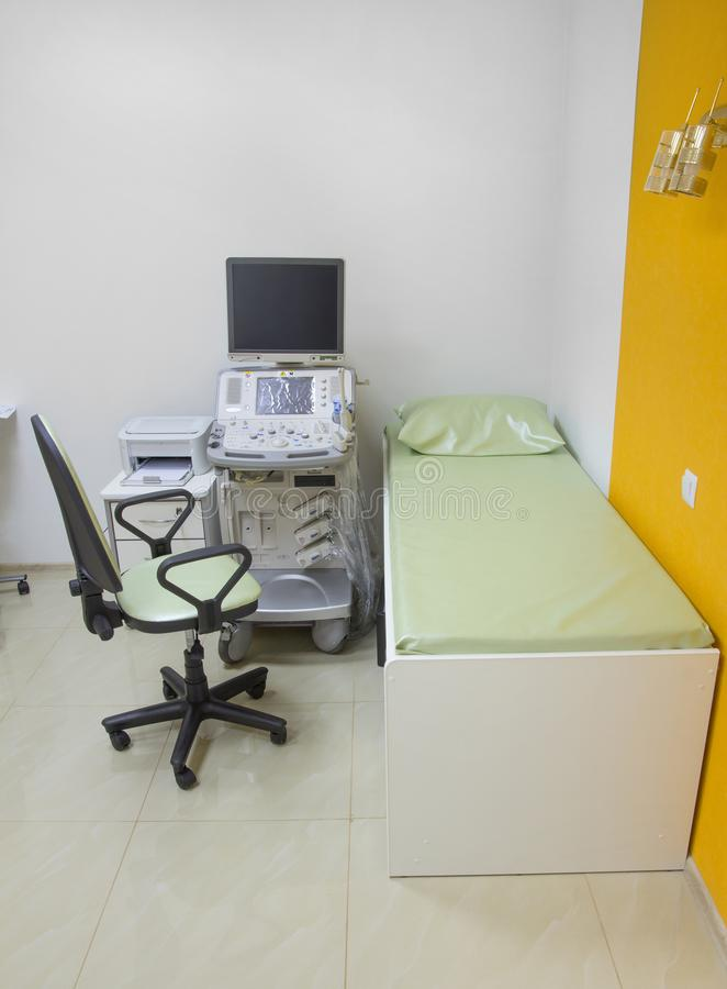 Ultrasound room with equipment stock photo
