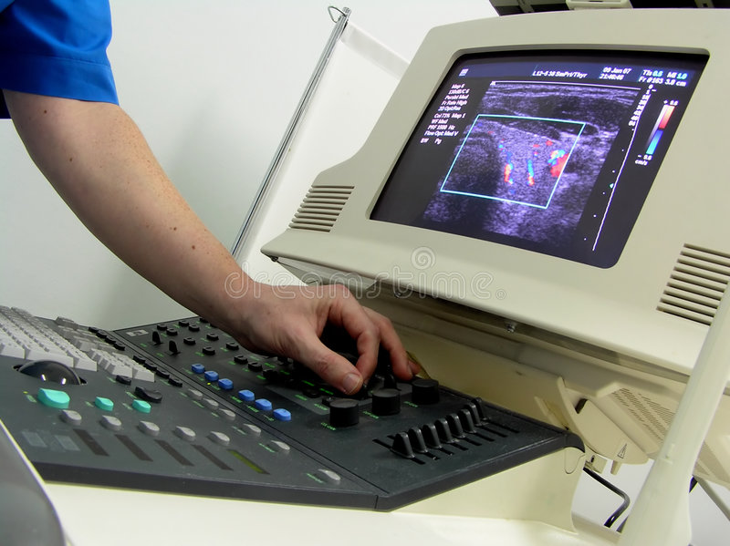 Ultrasound scanner. The close-up of ultrasound scanner at the hospital royalty free stock photography