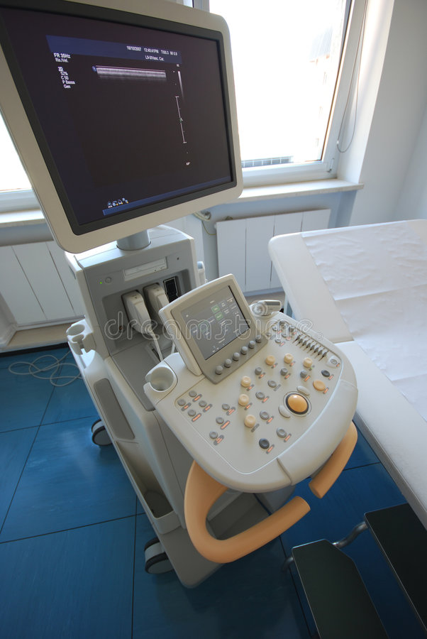 Ultrasound scanner. Medical instrument - The close-up of modern ultrasound scanner at the hospital. Ultrasound scanner with monitor royalty free stock photography