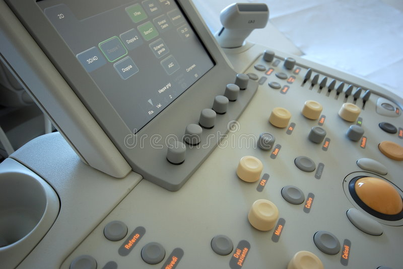 Ultrasound scanner. Medical instrument - The close-up of modern ultrasound scanner at the hospital. Ultrasound scanner with monitor royalty free stock photo