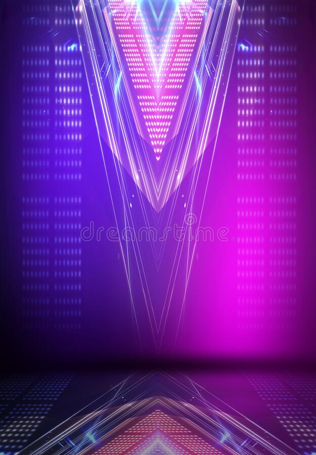 Ultraviolet abstract light. Light element, light line. Violet and pink gradient. Modern background, neon light. Empty stage, spotlights, neon. Abstract vector illustration