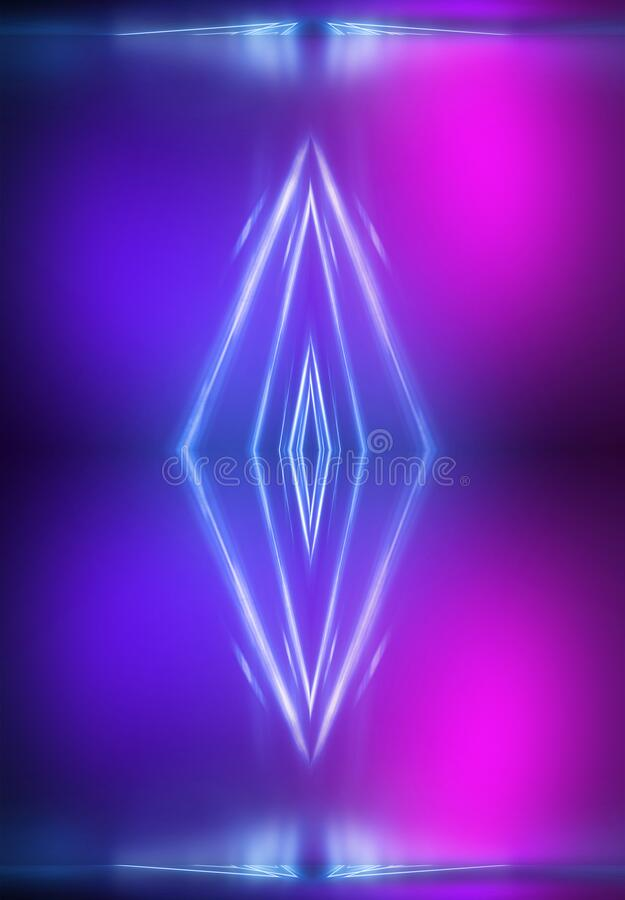 Ultraviolet abstract light. Light element, light line. Violet and pink gradient. Modern background, neon light. Empty stage, spotlights, neon. Abstract stock illustration