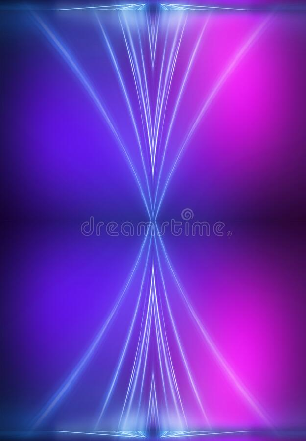 Ultraviolet abstract light. Light element, light line. Violet and pink gradient. Modern background, neon light. Empty stage, spotlights, neon. Abstract royalty free illustration