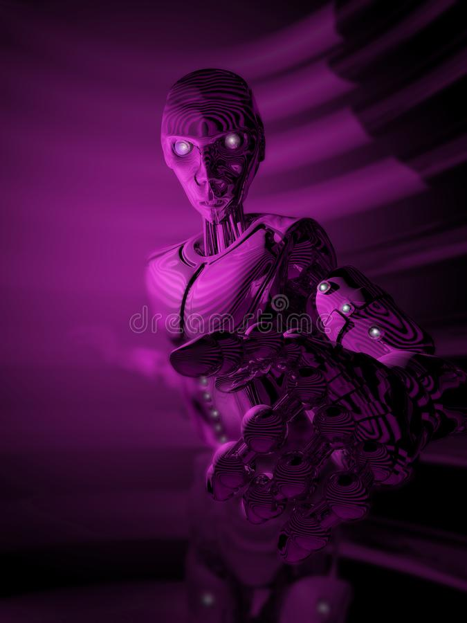 Ultraviolet Artificial Intelligence. Under ultraviolet light, in a dark environment, a brand new android pointing a finger towards us royalty free illustration