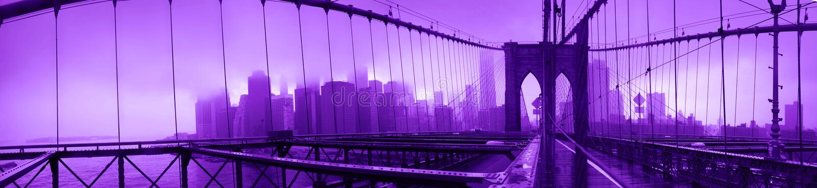 Ultraviolet Brooklyn Bridge stock images