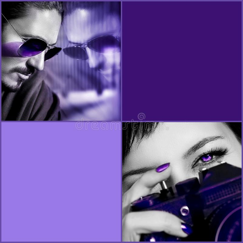 Ultraviolet composite image. Man in sunglasses, woman with camera against purple background. Composite image with black and white. stock photos