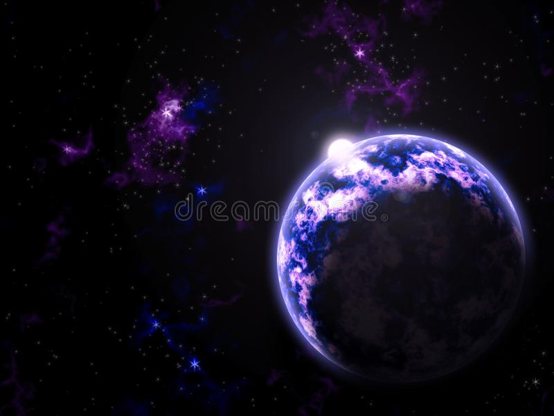 Ultraviolet Galaxy Planet and Sun. Fantasy Galaxy Sun Planet Stars Clouds Rising Ultraviolet Violet Satellite Astronomy stock illustration