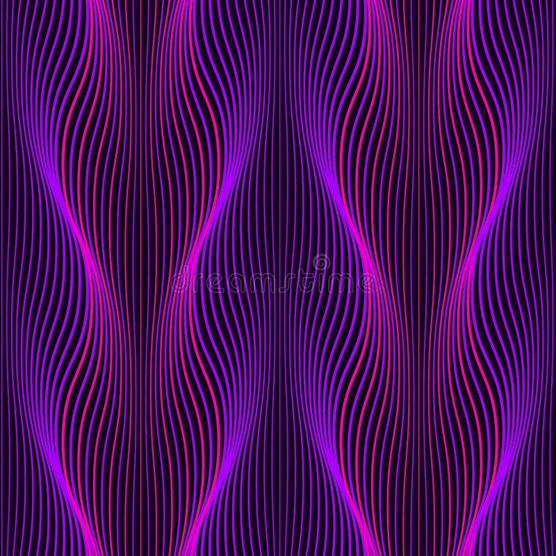Ultraviolet Neon wavy lines seamless pattern. Background with glowing 80s retro vapor wave style. Vector illustration vector illustration