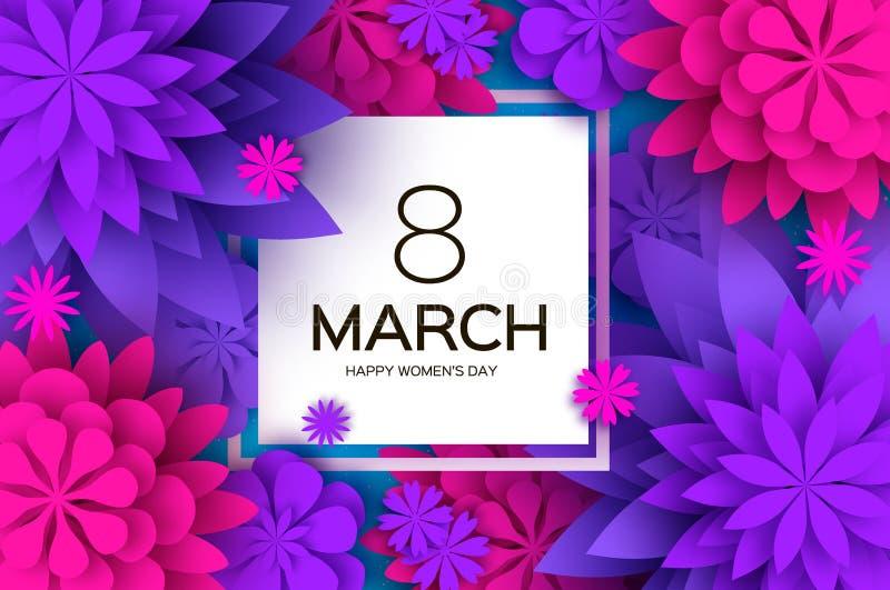 Ultraviolet pink paper cut flower 8 Maart De kaart van de Daggroeten van vrouwen Origami Bloemenboeket Vierkant frame tekst royalty-vrije stock afbeelding