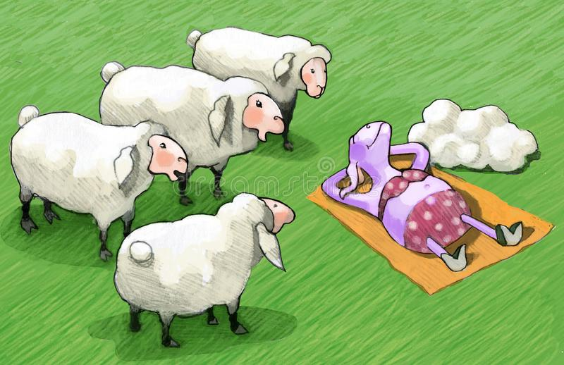 Ultraviolet sheep different from the others. Two sheep look amazed, sheep that has taken off fur and gets sun in a bikini stock illustration