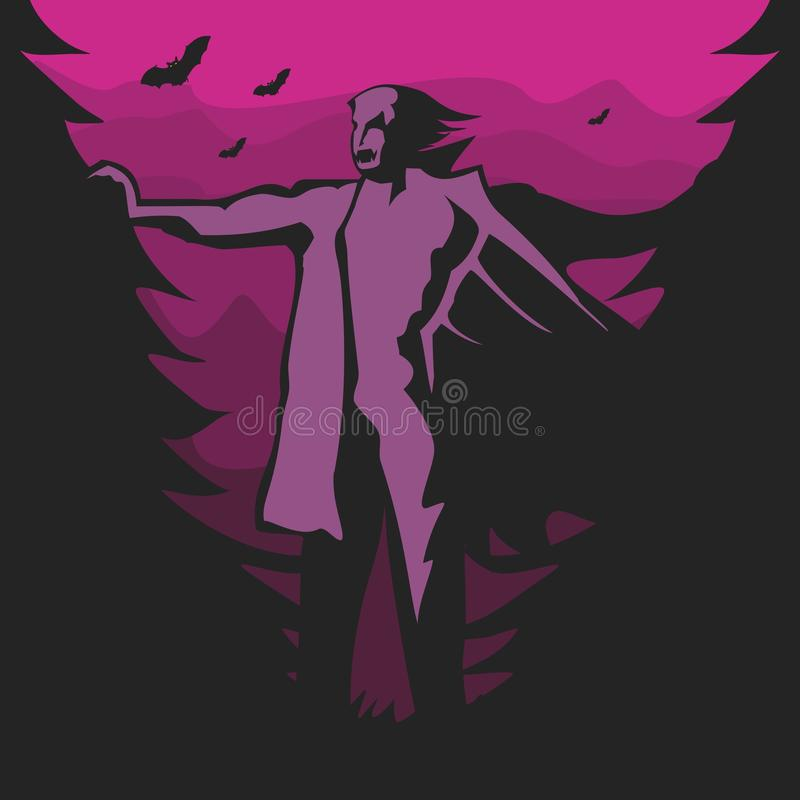 Ultraviolet vampire. In the forest. Vector format royalty free illustration