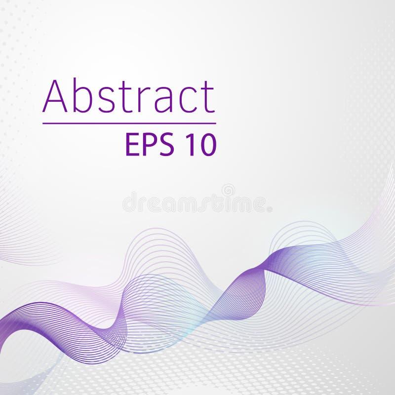 Ultraviolett glödande linje vektorabstrakt begreppbakgrund, linje för vattenvåg i färg av året 2018 Halvton och band royaltyfri illustrationer