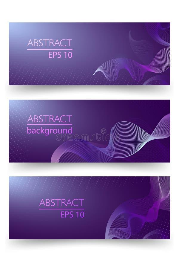 Ultraviolett glödande linje vektorabstrakt begreppbakgrund, linje för vattenvåg i färg av året 2018 Halvton och band stock illustrationer