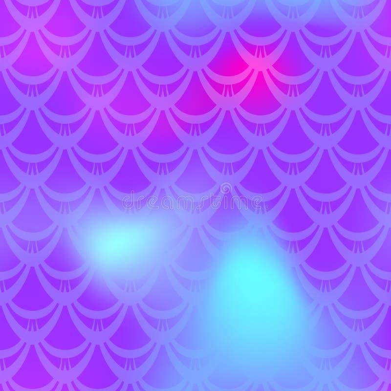 Ultraviolett rosa sjöjungfruhudbakgrund Kosmisk regnbågsskimrande bakgrund Modell för fiskskala vektor illustrationer