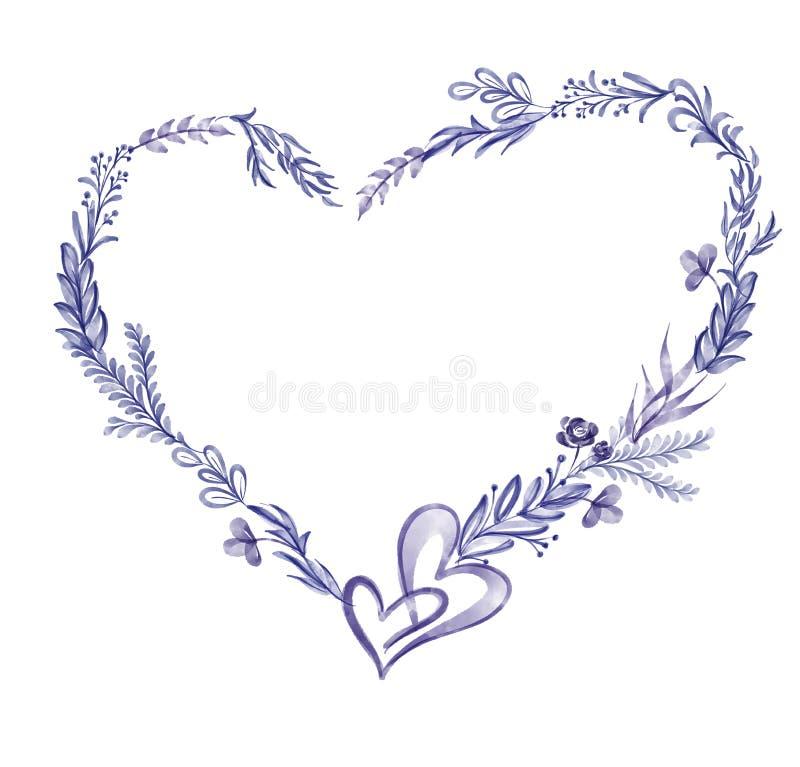 Ultraviolett sommar för blad för vattenfärgblommakrans Isolerat på vit bakgrund för hälsningkort för bröllopet, St royaltyfri illustrationer