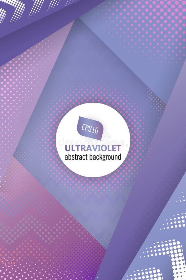 Ultraviolett vektorabstrakt begreppbakgrund i färg av året 2018 Rastrerad designmall för affischen, baner, flayer vektor illustrationer