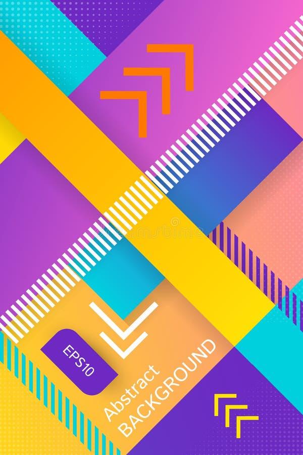 Ultraviolett vektorabstrakt begreppbakgrund med linjär design och det diagonala bandet Begreppskonst Rastrerad designmall royaltyfri illustrationer