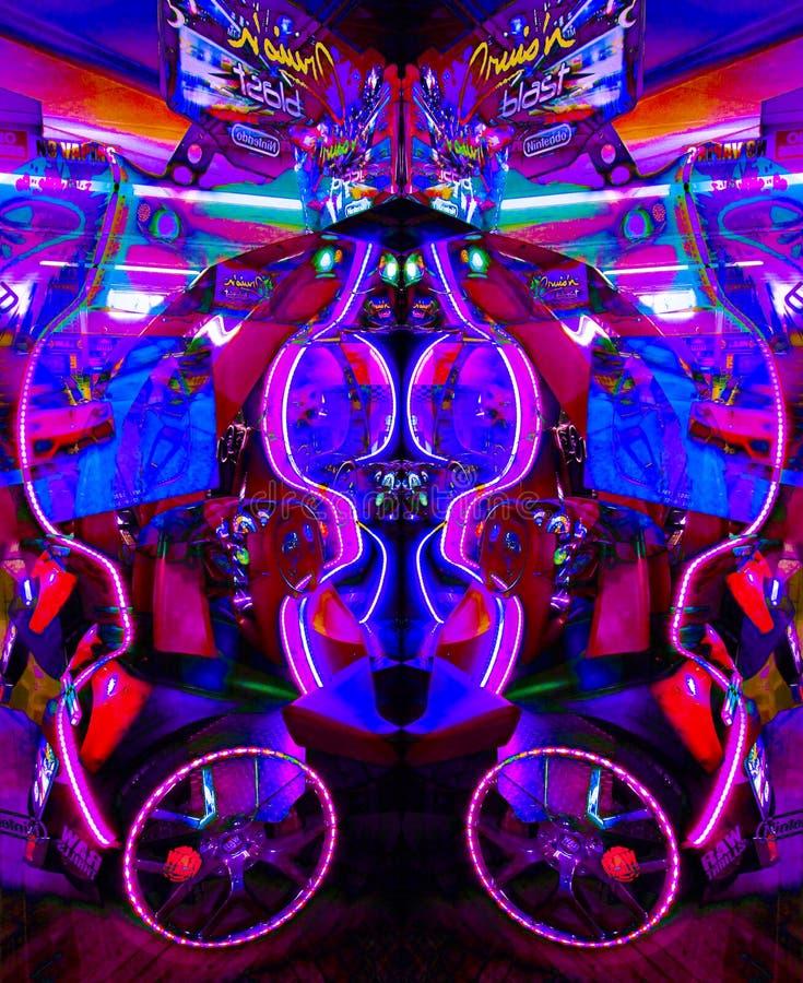 Ultravioletta Arcade Game i psykedeliskt ljus arkivfoto