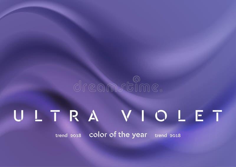 Ultraviolette gloeiende glanzende golven abstracte achtergrond stock illustratie
