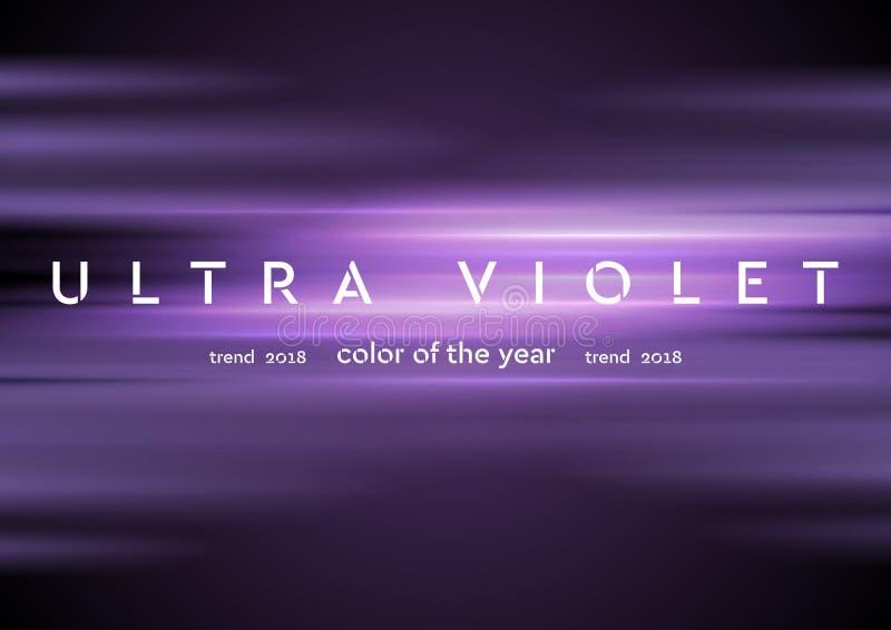 Ultraviolette gloeiende glanzende strepen abstracte achtergrond stock illustratie