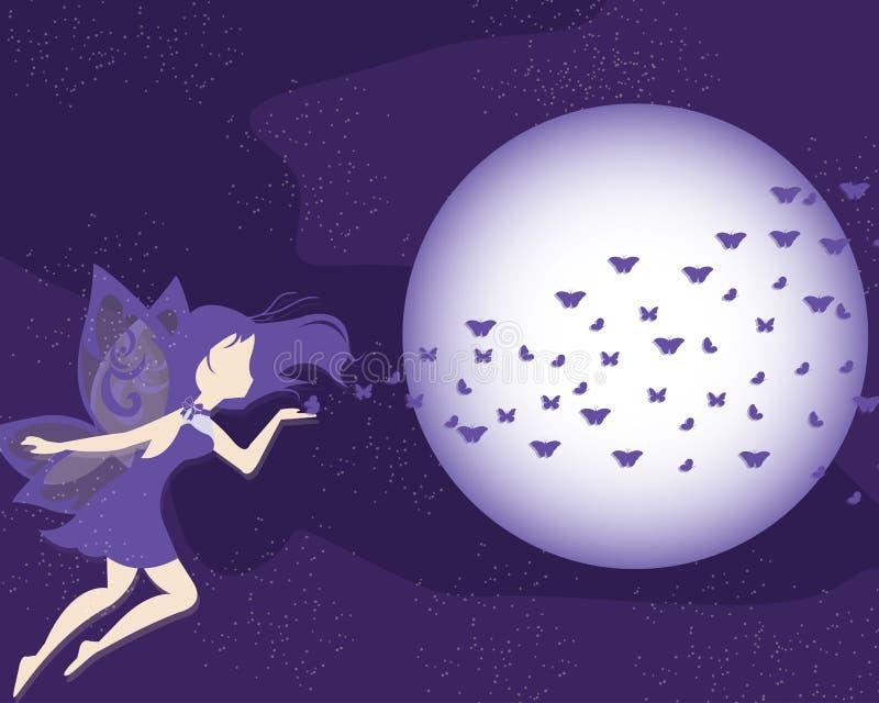 Ultraviolette purpere fee vectorachtergrond royalty-vrije illustratie