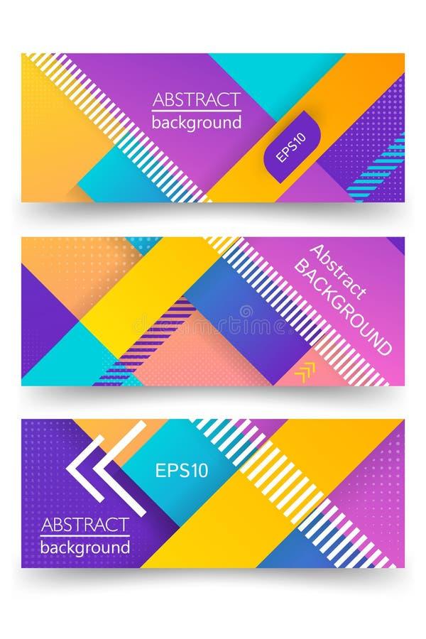 Ultraviolette vector abstracte banner met lineaire ontwerpachtergrond en diagonale streep Conceptenart. Halftone ontwerp stock illustratie