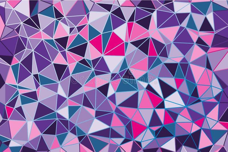 Ultraviolette veelhoekige abstracte achtergrond Laag polykristalpatroon Ontwerp met driehoeksvormen royalty-vrije illustratie