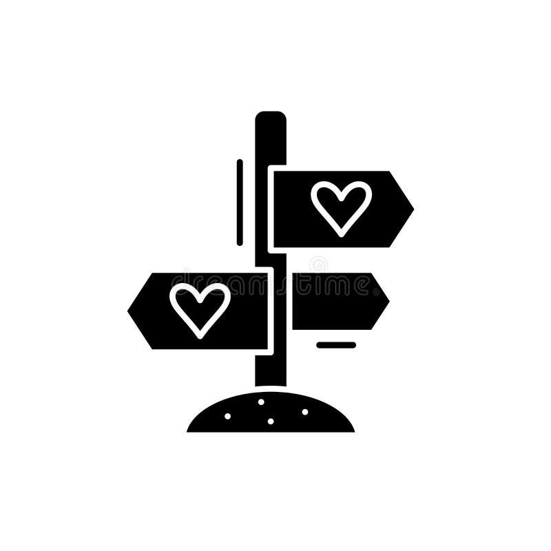 Ulubeni kierunki czarna ikona, wektoru znak na odosobnionym tle Ulubiony kierunku pojęcia symbol, ilustracja royalty ilustracja