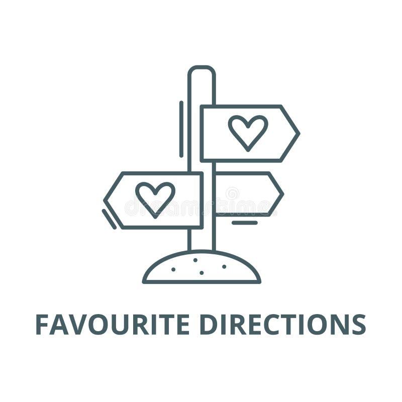 Ulubiona kierunku wektoru linii ikona, liniowy pojęcie, konturu znak, symbol royalty ilustracja