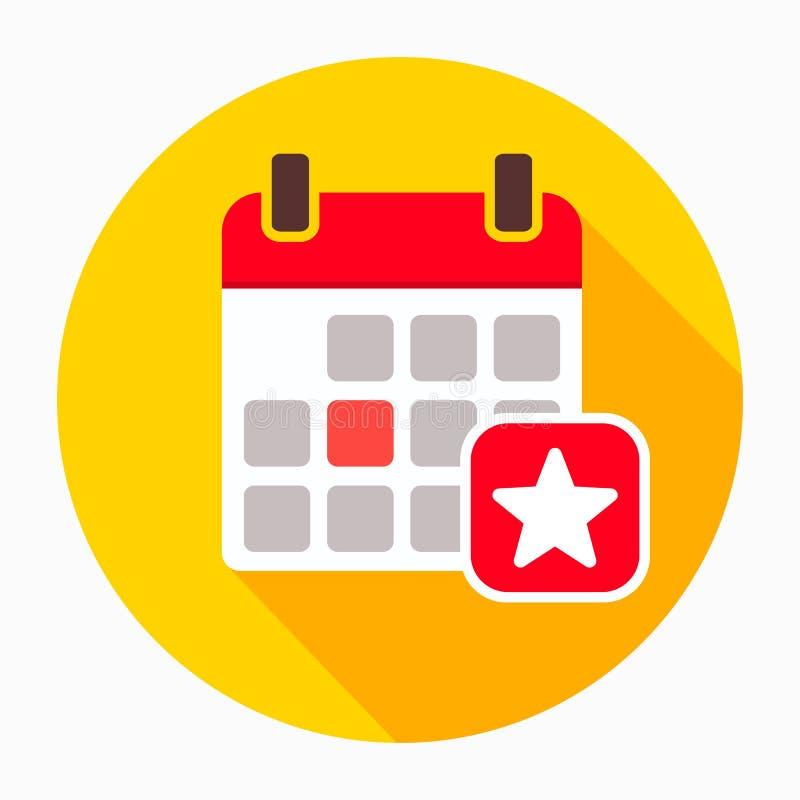 Ulubiony dnia kalendarz z gwiazdowym ikona wektorem, wypełniający mieszkanie znak, stały piktogram odizolowywający na bielu ilustracja wektor