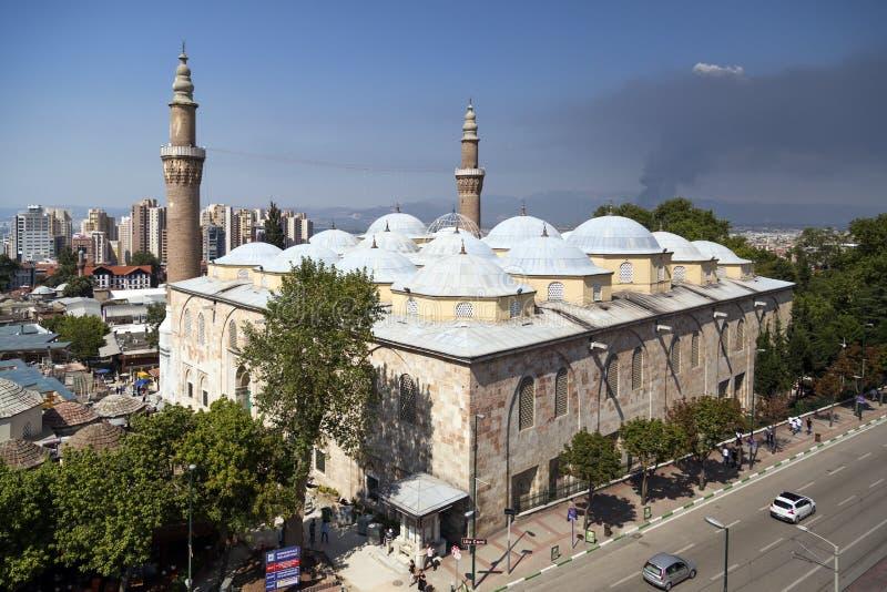 Ulucami, Bursa, Turkey. Bursa, Turkey - The exterior of Ulucami the Great Mosque or the Grand Mosque in Bursa, Turkey royalty free stock images