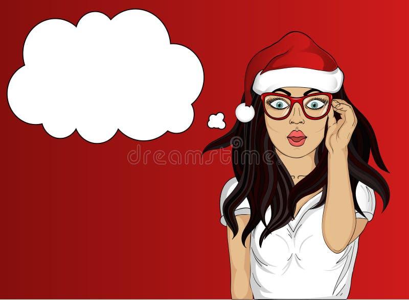 ululación Muchacha en el sombrero de Santa Claus muy sorprendida Vector libre illustration