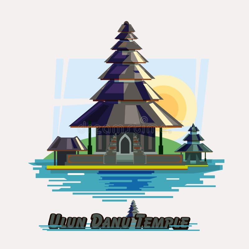 The Ulun Danau Temple, Bali, Indonesia - vector. Illustration stock illustration
