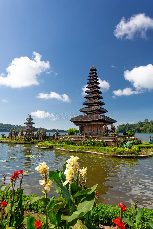 Ulun Danu Beratan temple in Bali. Indonesia stock image