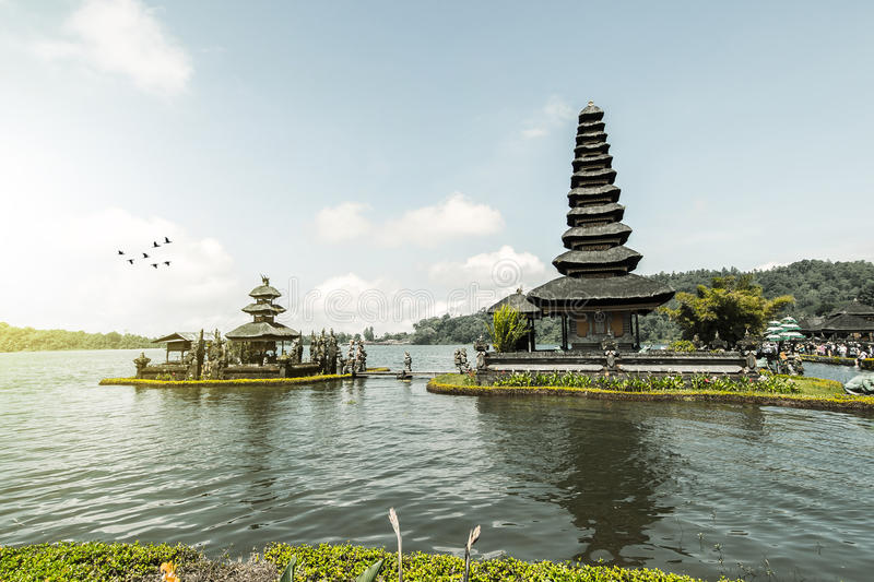 Ulun Danu Beratan Temple, Bali. Pura Ulun Danu Beratan, or Pura Bratan, is a major Shaivite water temple on Bali, Indonesia. The temple complex is located on the royalty free stock photo
