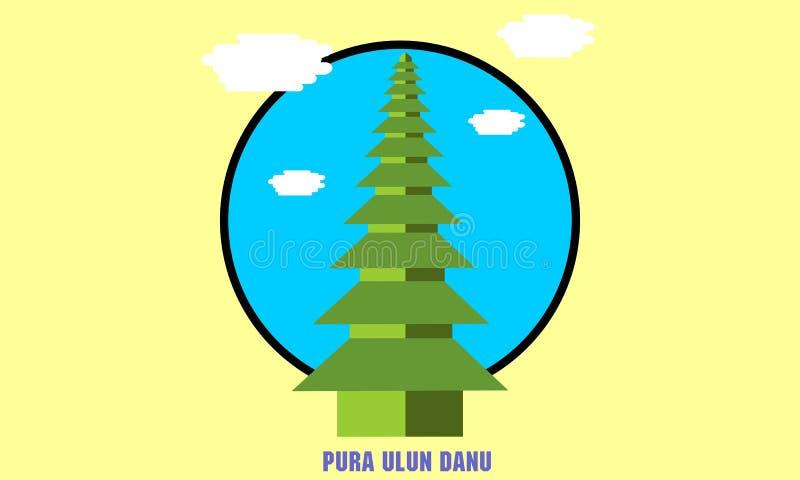 Ulun Danu Temple, Bali vector illustration
