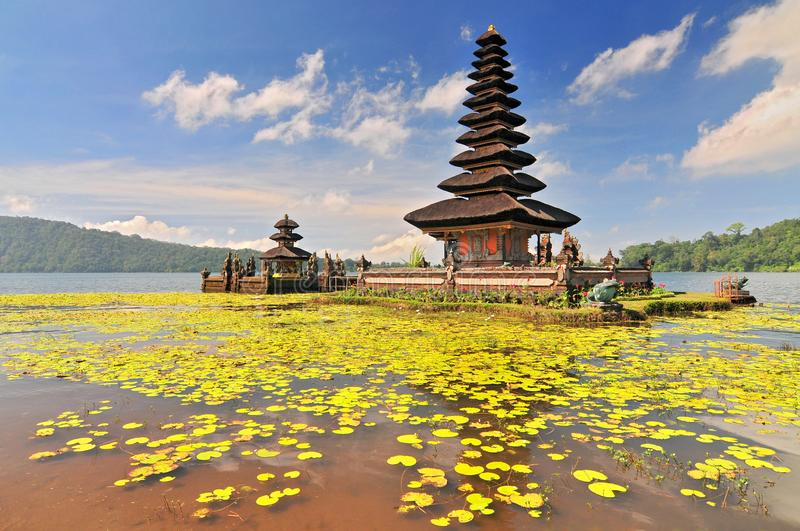 Ulun Danu temple Beratan Lake in Bali Indonesia. Pura Ulun Danu Beratan, or Pura Bratan, is a major Shaivite water temple on Bali, Indonesia royalty free stock images