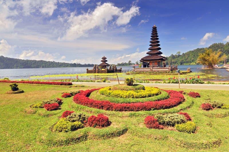Ulun Danu temple Beratan Lake in Bali Indonesia.  royalty free stock photos