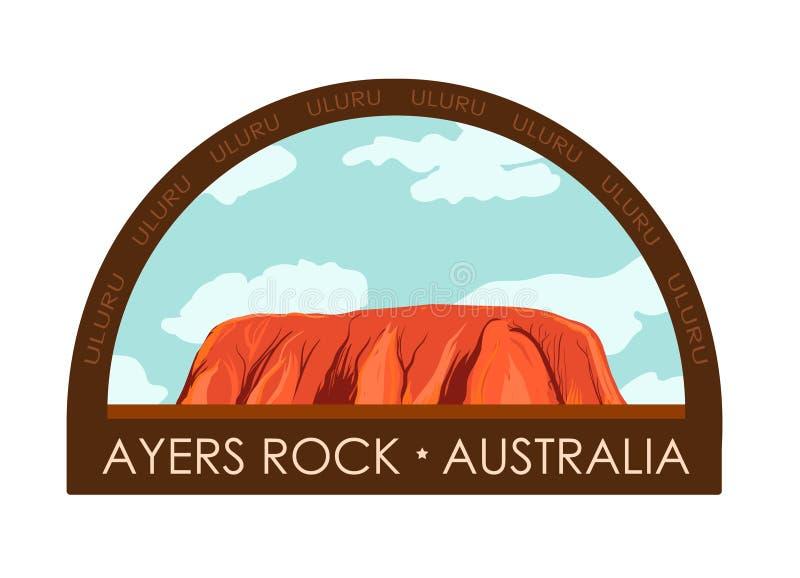 Uluru, βράχος Ayers - διακριτικό ταξιδιού Επίπεδη διανυσματική απεικόνιση της Αυστραλίας απεικόνιση αποθεμάτων