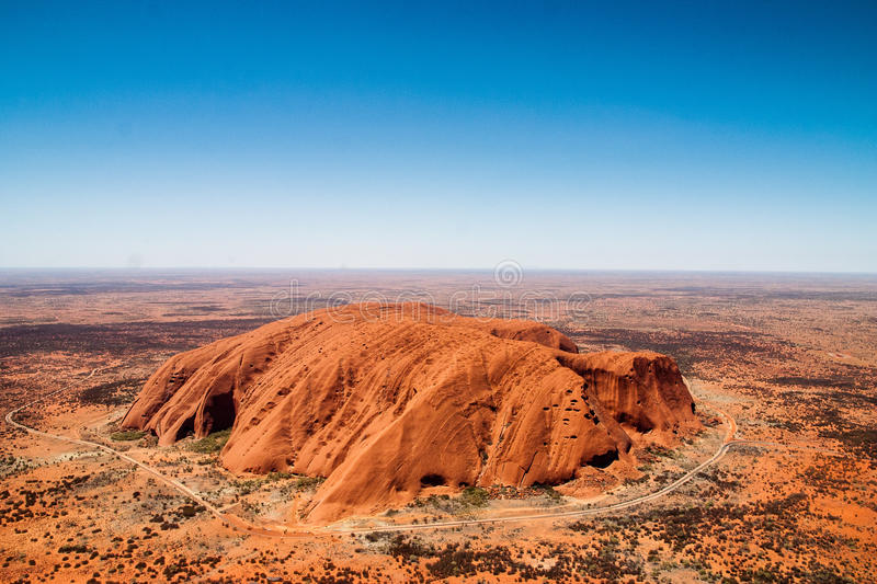 Uluru Ayers Rock. A view of the ayers rock-uluru from a helicopter royalty free stock photos