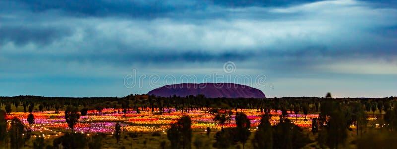 Uluru vid natt arkivfoto