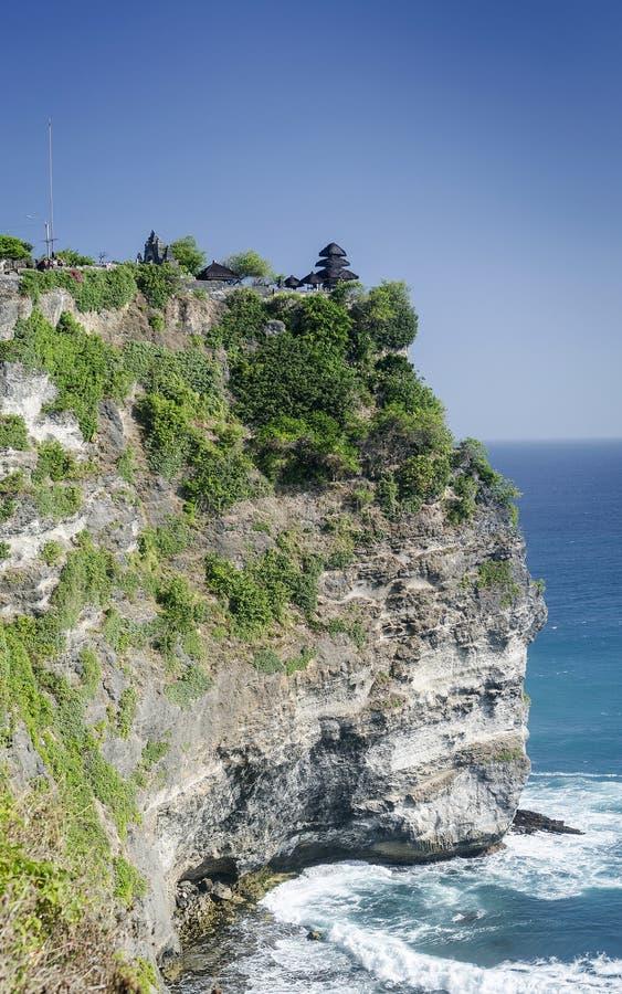 Uluwatu古老地标clifftop巴厘语印度寺庙在巴厘岛 图库摄影