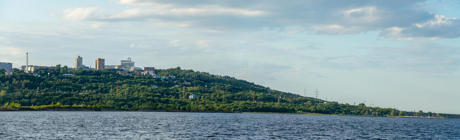Ulyanovsk, Russia - July 20, 2019. Panorama of the city of Ulyanovsk from the Volga river, Russia royalty free stock images