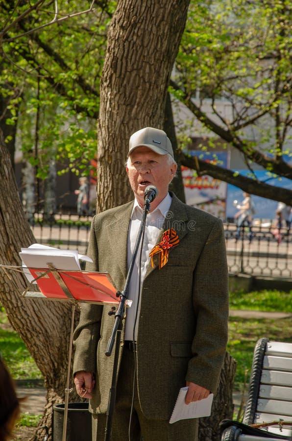 Ulyanovsk, Russland - 9. Mai 2019: Ulyanovsk, Russland - 9. Mai 2019: Feiern des Jahrestages des Sieges im Zweiten Weltkrieg lizenzfreie stockfotografie