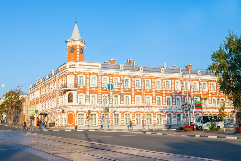 Ulyanovsk Simbirsk Rússia museu histórico e memorável do 18 de agosto de 2018 do centro de Goncharov fotos de stock